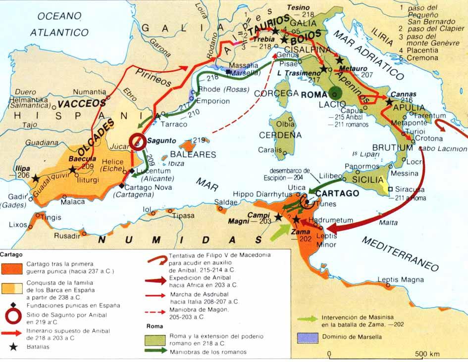 Resultado de imagen de mapa segunda guerra punica